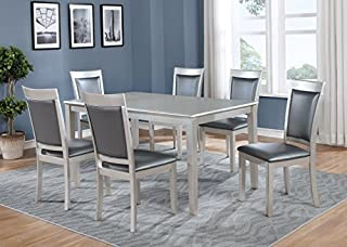 Roundhill Furniture Avignor 7-Piece Contemporary Simplicity Dining Set with 6 Chairs, Silver