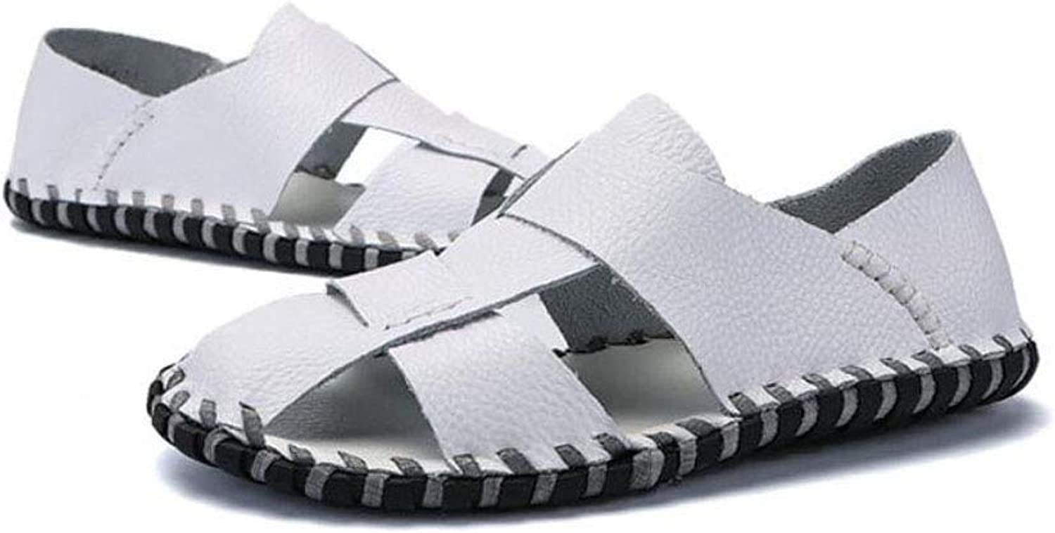 Men's Beach Sandals Breathable Cow Two-Layer Leather Headshot Beach shoes Lazy One-Legged Comfortable Fashion Cool shoes