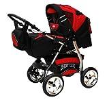 Lux4kids Carrito de bebé King con asiento de coche y ruedas tipo neumático R8, con sombrilla, diseño negro cósmico y rojo 32