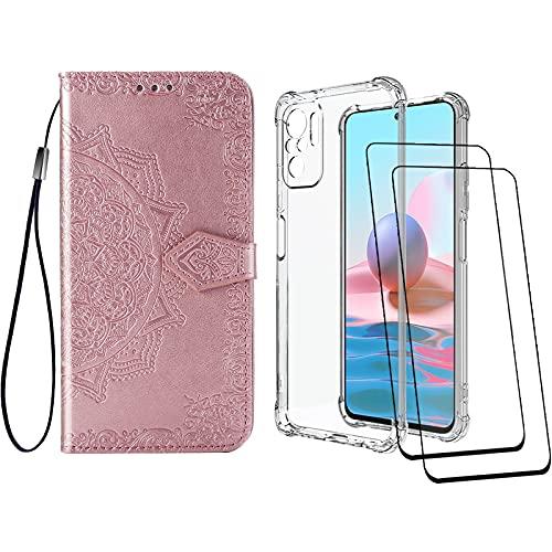 [2 Pack] Funda para Xiaomi Redmi Note 10 4G/Note 10S + Protector de Pantalla Cristal Templado, Carcasa Libro con Tapa PU Cuero Mandala Antigolpes Case Silicona TPU Color Transparente + Oro Ros