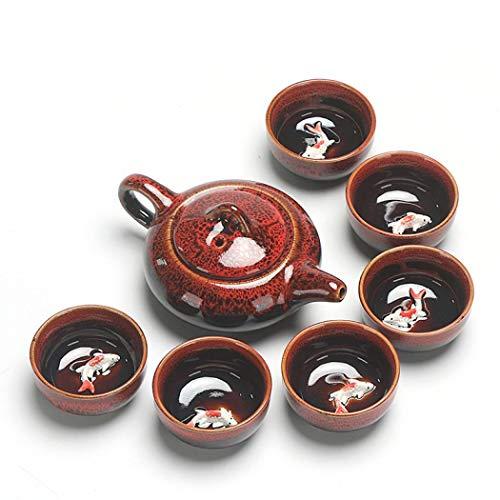 Kung Fu Tee-Set, handgefertigt, chinesisch, japanisch, Vintage, Porzellan, Teekanne, 6 Teetassen, Geschenkbox (rot)