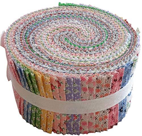 复古花卉袖珍果冻卷集40预制的2.5英寸绗缝织物带