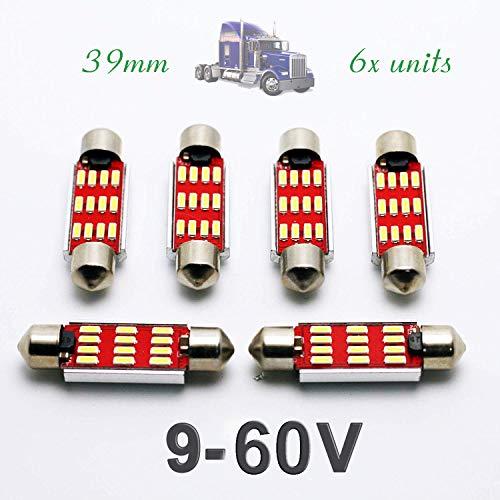 G-V 6 x LED-lampen binnen C5W 24 V 39 mm wit 6000 K vrachtwagen 39 SV8,5