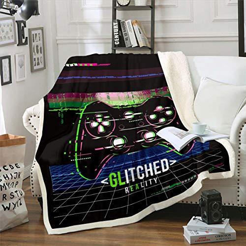 Tbrand Kinder Gamepad Decke 130x150cm für Mädchen Jungen Buffalo Check Spiel Controller Kuscheldecke Moderne Gamer Wohndecke Spielekonsole Flanell Fleecedecke Weich