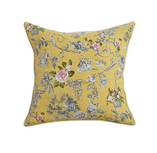 Dongy Cojines de impresión de jardín sofá cojín Coche Almohada Bolsa de Oficina, Lino Transpirable y cómodo, reposacabezas con núcleo Gran Respaldo (Color : Pure Color Garden, Size : 50cm*50cm)