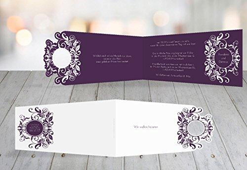 Kartenparadies Hochzeitskarte Kontur Einladung Blumenranke, hochwertige Einladung zur Heirat inklusive Umschläge | 60 Karten - (Format: 215x105 mm) Farbe: Liladunkel