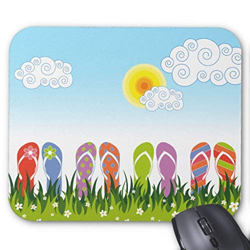 Drempad Gaming Mauspads Custom, Colorful Summer Flip Flops Fun in The Sun Garden Mouse Pad 11.8