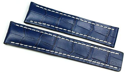 Rios1931 20 mm/18 mm Cinturino per orologio in vera pelle fatto a mano coccodrillo goffrato fascia blu per fibbia deployante adatta per Breitling Germany coccodrillo goffrato Alligator cinturino per