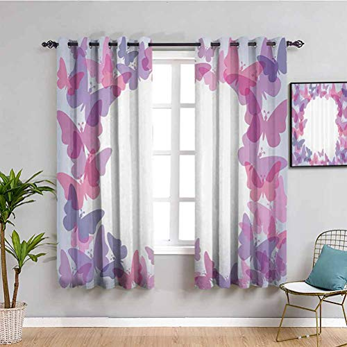 Butterflies Decor ation Bedroom Decor Blackout Shades Silhouettes of Butterflies in Shade of Gradient Colors Magical Design Home 2 Panel Sets W84 x L84 Inch Pink Purple Gray