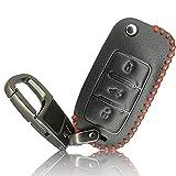 FoilsAndMore Hülle kompatibel mit VW Skoda Seat Autoschlüssel 3-Tasten - Leder Schutzhülle Cover Schlüsselhülle in Farbe Schwarz Rot