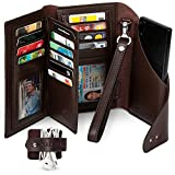 All-in-One RFID Wallet for Women with Wrist Strap - Credit Card & Passport Holder for Women - Large Brown Wristlet Wallet with Universal Phone Holder included