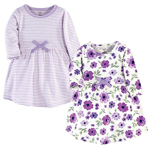 Touched by Nature Girls, Toddler, Baby and Womens Organic Cotton Short-Sleeve and Long-Sleeve Dresses, Purple Garden Long Sleeve, 9-12 Months