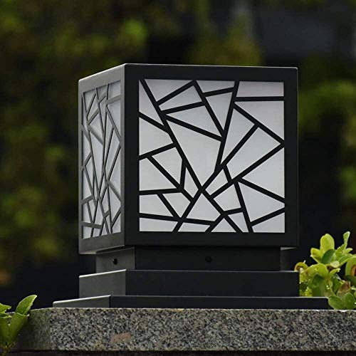 LGOO1 Rainproof Antirust Aluminum Pedestal Light Classic Square Villa Courtyard Garden Balcony Pillar Lantern E27 External Patio Streetlight European Outdoor Gate Post Pole Lamp (Size : 50CM)