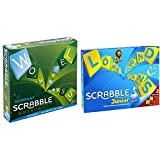 Mattel Games CJT13 Scrabble Kompakt Wörterspiel, Familienspiel geeignet für 2 - 4 Spieler &...