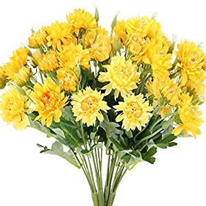 NAHUAA 4Pcs Artificial Daisy Silk Flowers Bouquet Yellow Fake Floral Flowers Table Centerpieces Arrangements for Decor Outdoor Wedding Home Kitchen Office DIY Hotel Spring Decorations