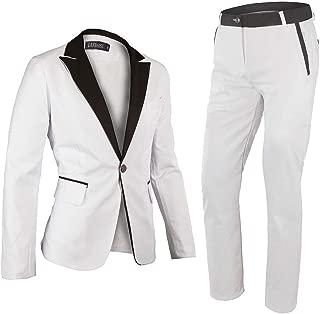 White Suit Mens One Button Suit Wedding Groom Tuxedos 2 Pieces Dance Costume Set