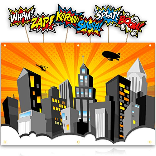 Bigtime Signs XL Superhero Backdrop with 6 Comic Action Word Photo Booth Props - Compliments any Super Hero Birthday Party - 4 foot x 6 ft - Cityscape Back Drop Banner Decoration Hangs on Wall Easily