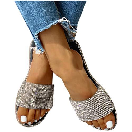 BIBOKAOKE Sandalen Damen Sommer Flache Sandalen Strass Sandaletten Römische Schuhe Elegante Glitzer Hausschuh Slipper Sandals Flip Flops Leicht Bequem Slippers Sommerschuhe Freizeitschuhe