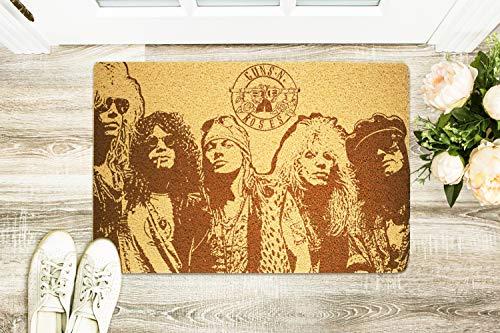 StarlingShop Guns N' Roses - Felpudo para puerta, diseño de pistola y rosas
