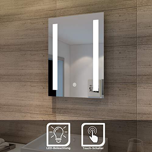SONNI Badspiegel led Spiegel (eckig) mit LED Beleuchtung Wandspiegel Badzimmerspiegel kaltweiß IP44 energiesparend (Alice 45 * 60cm)