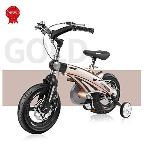 QQBB Kinderfiets, 12-inch, 14-inch, 16-inch magnesiumlegering, dubbele schijfremmen voor en achter, opvouwbaar, geschikt voor jongens en meisjes van 3-9 jaar