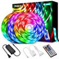 Elfeland LED Strip Lights 39.3ft, RGB Light Strip Kits Color Changing 5050 LED Strips Flexible Rope Lights with 44 Keys Remote & 12V 5A Power Supply for Home Kitchen Indoor Decoration