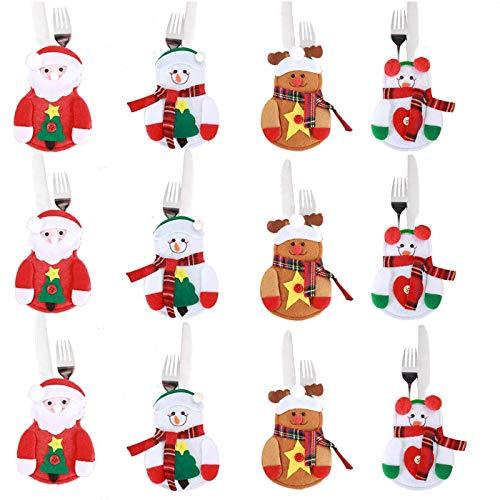 Annhao Portaposate Natalizie, 12 Pezzi Set Portaposate Natalizie da Babbo Natale Tasche Posate per Forchetta Cucchiaio Decorazione della Tavolo di Natale, 4 Stili