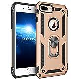 kouyi cover iphone 7 plus/iphone 8 plus,custodia 360° girevole regolabile ring armor bumper tpu case magnetica supporto silicone custodie per iphone 7 plus/iphone 8 plus 5,5 pollici (oro)
