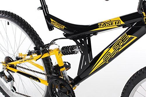 Mountain Bikes Flite Taser II Mens' Mountain Bike Black/Yellow, 18″ inch steel frame, 18 speed fully adjustable rear shock unit front suspension forks