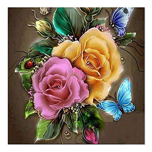 SuperDecor 5d Diamond Painting Full Drill by Number Kits Crystal Rhinestone Diamond Embroidery Paintings for Adults and Kids, Large Flowers 30x30cm