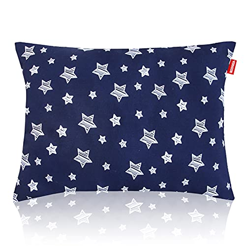 Toddler Pillows Star Print, Toddler Pillow for Sleeping, Ultra Soft Kids Pillows for Sleeping, 14 x 19 inch Perfect for Travel, Toddler Cot, Baby Crib, No Pillowcase Needed (Navy Star)