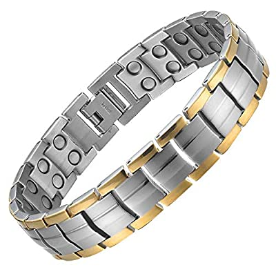 Willis Judd Double Strength Titanium Magnetic Therapy Bracelet for Arthritis Pain Relief Size Adjusting Tool and Gift Box Included