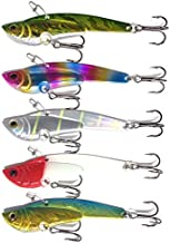 orurudo 5pcs 1.1oz (30g) Hard Metal VIB Blade Baits Fishing Lure Set for Saltwater Shore Jigging, bass Fishing. A-Color Set qb100066a01n0