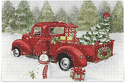 Winter Red Truck Cardinal Jigsaw Puzzle Christmas Tree Snowman 500 Pieces Puzzles Educational Intellectual Decompressing Fun Game for Kids Adult Home Wall Decor