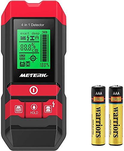 Detector de Pared, Meterk 4 en 1 Multifunción Detector Escáner de Pared con Pantalla LCD Retroiluminada para La Madera Postes del Metal, Alambre de AC y La Humedad Detectando