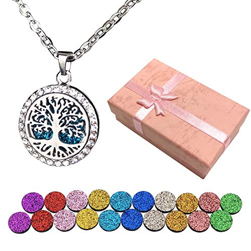 Necklace Aromatherapy Essential Oil Diffuser, The Tree of Lifediffusers for Essential Oils Gifts for Women Birthday Gift Valentine's Day