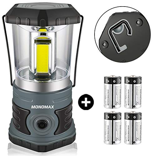 Monomax LED Camping Lantern Battery Powered 1500 Lumen COB Camping Light 4D BatteriesIncluded Perfect for Camp Hiking Emergency Kit