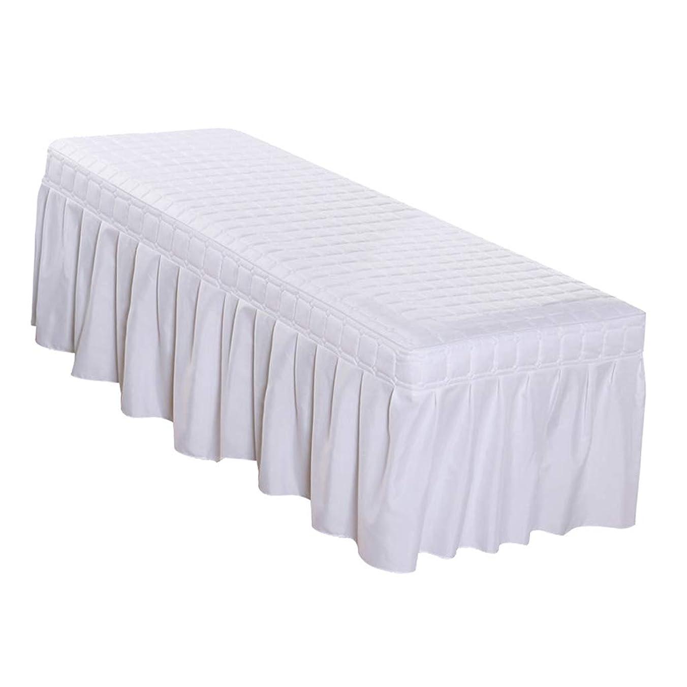シンジケート死の顎マーカー全6色4サイズ ベッドタオル エステタオル マッサージ ベッドスカート付 エステカバー 穴付き - ホワイト, 185×70cm