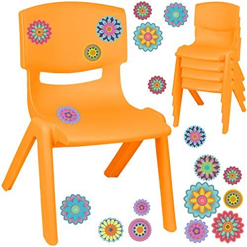 alles-meine.de GmbH Kinderstuhl / Stuhl - Motivwahl - orange + Sticker - Bunte Blumen & Blüten - inkl. Name - Plastik - bis 100 kg belastbar / kippsicher - für INNEN & AUßEN - 0 ..