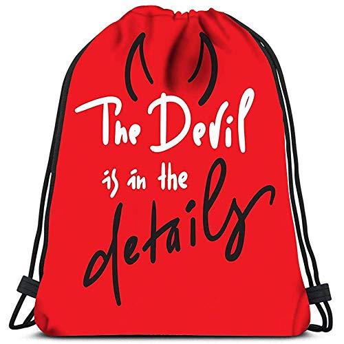 Mei-shop Mochilas con cordón Bolsas El Diablo está en los Detalles Bolsas de Hombro portátiles Bolsa de Deporte de Viaje Bolsa de Deporte