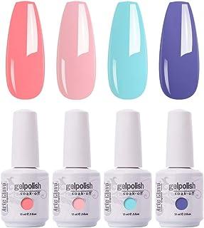 Arte Clavo 15ml Varnish Soak Off UV Led Nail Gel Polish Nail Art Salon Set 12 of 4 Colors