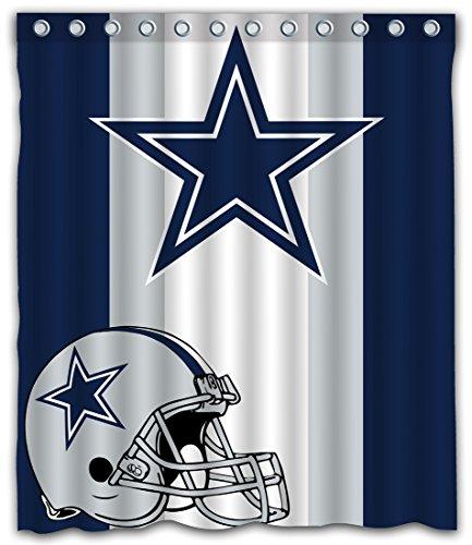 Sonaby Custom Stripe Dallas Cowboys Waterproof Fabric Shower Curtain for Bathroom Decoration (60x72 Inches)