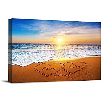 Heart and Heart at Beautiful Sunrise Unique Personalized Photo or Canvas Prints with Couple s Names and Special Date on Beach,Perfect Present Love Gift for Anniversary,Wedding,Birthday and Holidays