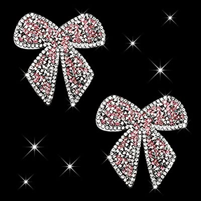 HungMieh Bling Car Decals, Crystal Car Décor, Rhinestone Car Accessories for Women, Diamond Car Stickers and Decals for Motorcycle Helmet Laptop Tumbler Luggage Guitar (Pink Bowtie) from HungMieh
