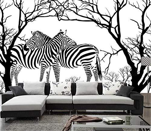 Muurschildering achtergrondfoto aangepaste fotobehang 3D stereoscopic zebra wit zwart boom muurschilderingen voor woonkamer achtergrond behang wooncultuur, aFcvs29