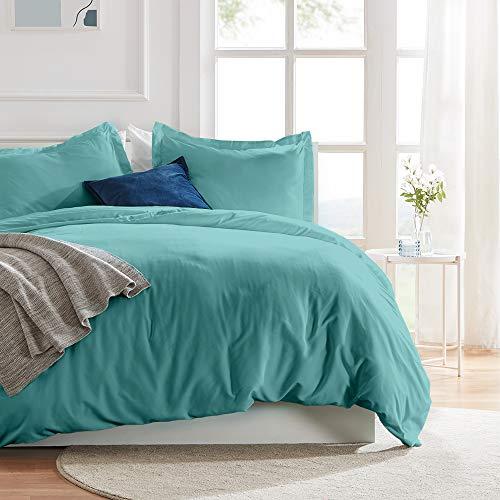 SLEEP ZONE Bettwäsche-Set, 172,7 x 228,6 cm, Temperatur-Management, 120 g/m², ultraweich, mit Reißverschluss, Eckbänder, Blaugrün, Twin