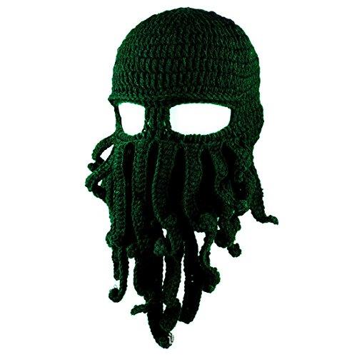 ECYC Lustige Tentakel Octopus Knit Mütze Hut Mütze Wind Ski Maske Wind Maske Kappe Halloween Tier Geschenk, dunkelgrün