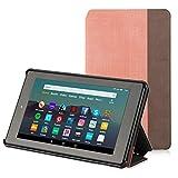 apiker custodia compatible con fire 7 tablet (9a generazione,2019 di rilascio), smart shell cover con auto svegliati/sonno,per amazon fire 7 2019, pelle pu premium, rosa
