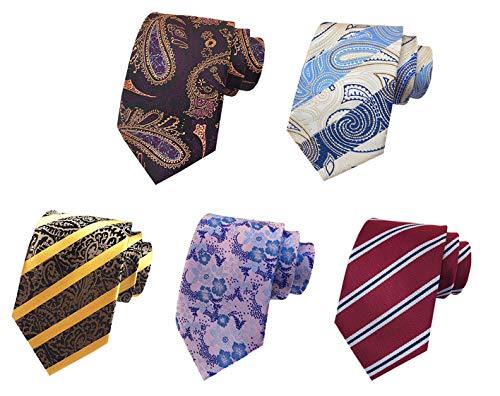 MOHSLEE Vintage Men's Striped Paisley Ties Silk Wedding Party Neckties Set...