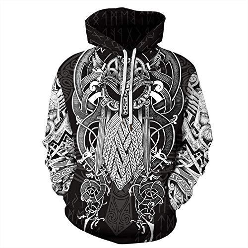 DFWY Vintage Odin 3D Asgard Streetwear, Sudadera con Capucha Unisex Viking Fresk Impresas Sudadera Personalizada con Bolsos Grandes, Vestido de Pareja de Navidad, Sudadera con Capucha